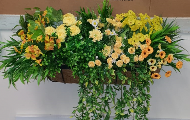 Artificial Flowers Manger Mixed Yellow and Greenery